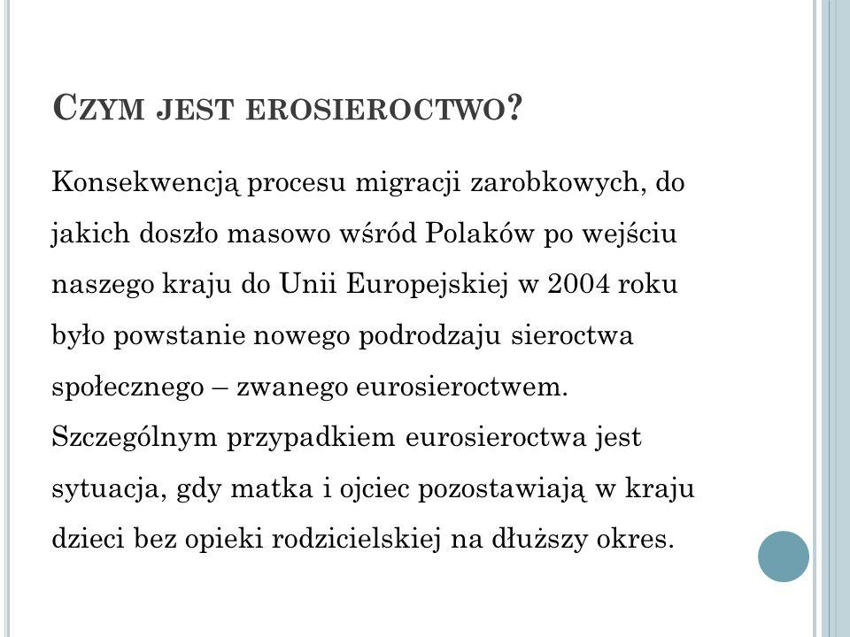 C ZYM JEST EROSIEROCTWO ? Konsekwencją procesu migracji zarobkowych, do jakich doszło masowo wśród Polaków po wejściu naszego kraju do Unii Europejski