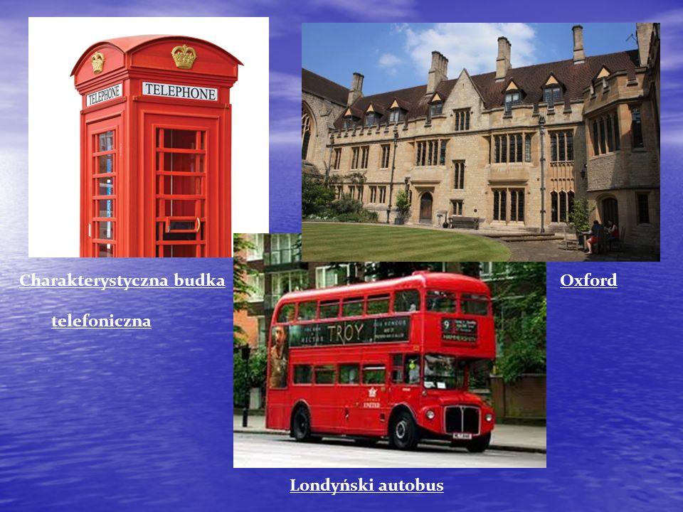Charakterystyczna budka Oxford telefoniczna Londyński autobus