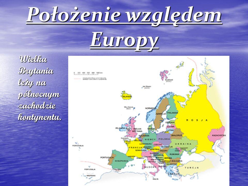 Położenie względem Europy Wielka Brytania leży na północnym zachodzie kontynentu.