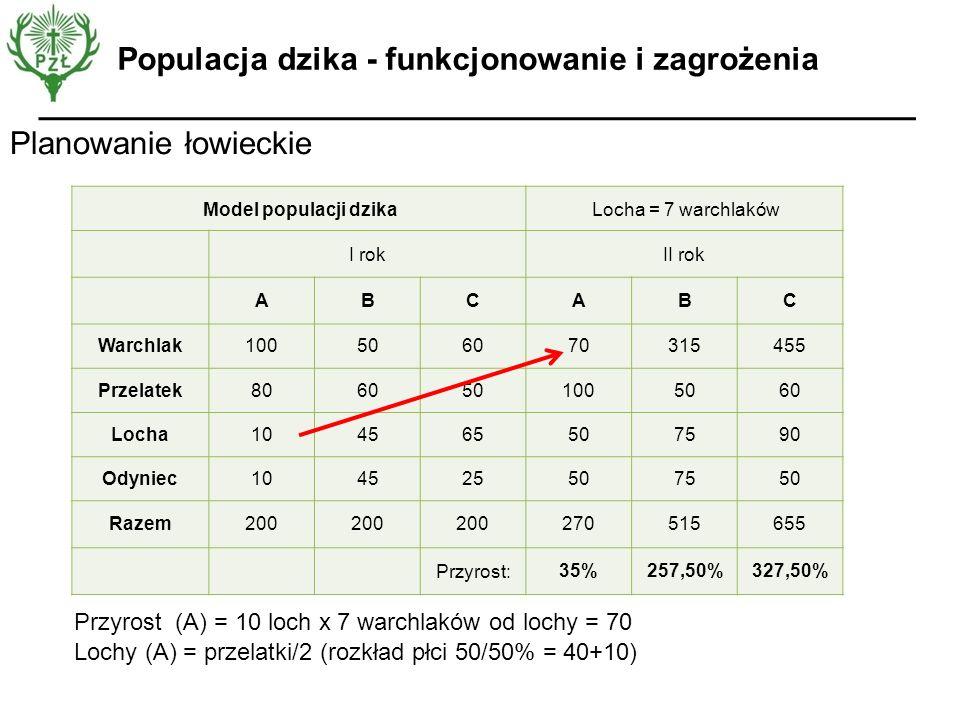 Planowanie łowieckie Populacja dzika - funkcjonowanie i zagrożenia Model populacji dzikaLocha = 7 warchlaków I rokII rok ABCABC Warchlak10050607031545