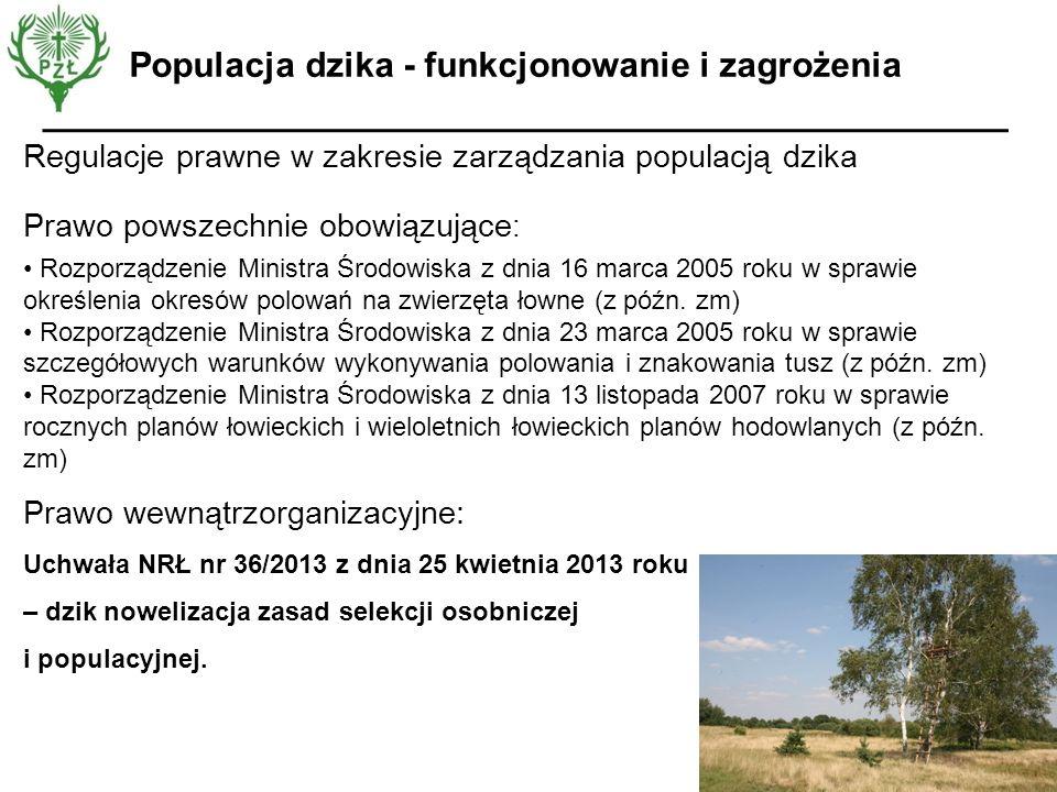 Regulacje prawne w zakresie zarządzania populacją dzika Prawo powszechnie obowiązujące : Rozporządzenie Ministra Środowiska z dnia 16 marca 2005 roku