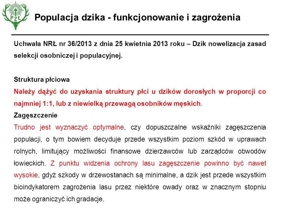 Opinia EFSA Uchwała NRŁ nr 36/2013 z dnia 25 kwietnia 2013 roku – Dzik nowelizacja zasad selekcji osobniczej i populacyjnej. Struktura płciowa Należy