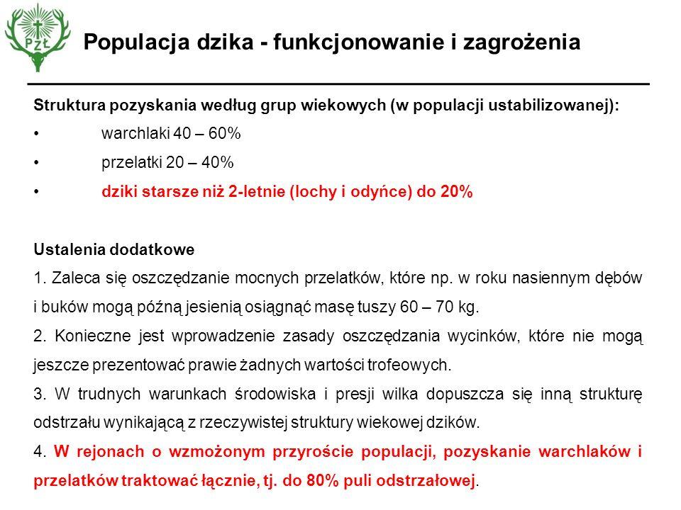 Opinia EFSA Struktura pozyskania według grup wiekowych (w populacji ustabilizowanej): warchlaki 40 – 60% przelatki 20 – 40% dziki starsze niż 2-letnie