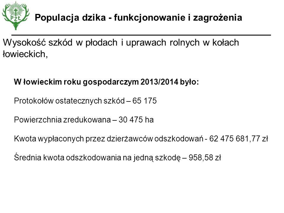 Wysokość szkód w płodach i uprawach rolnych w kołach łowieckich, Populacja dzika - funkcjonowanie i zagrożenia W łowieckim roku gospodarczym 2013/2014