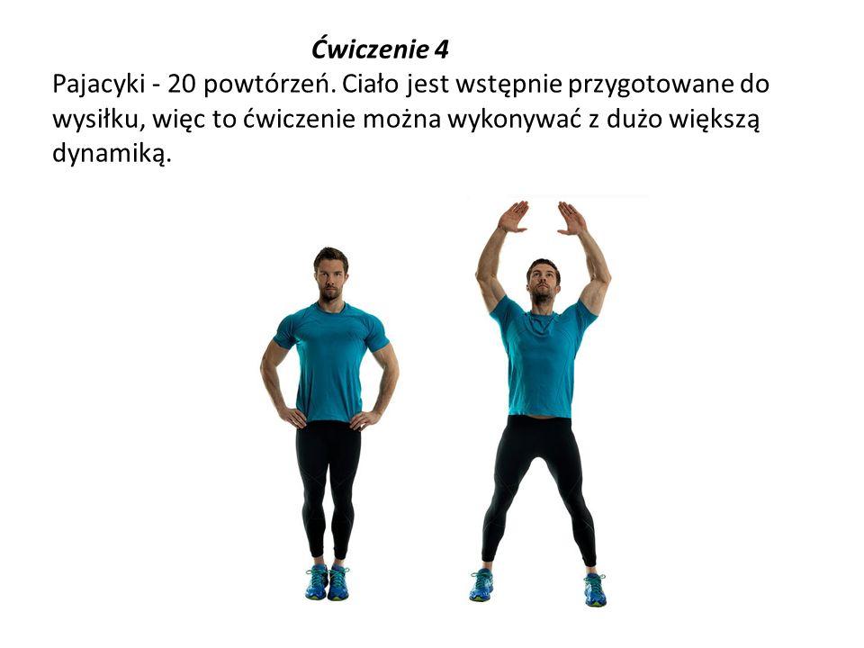 Ćwiczenie 4 Pajacyki - 20 powtórzeń. Ciało jest wstępnie przygotowane do wysiłku, więc to ćwiczenie można wykonywać z dużo większą dynamiką.