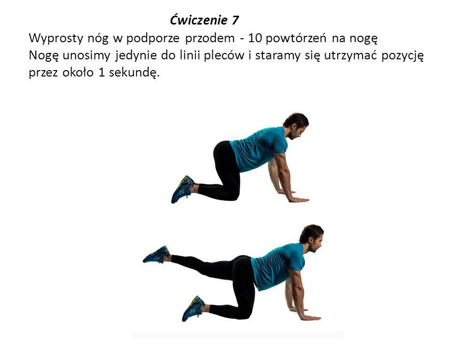 Ćwiczenie 7 Wyprosty nóg w podporze przodem - 10 powtórzeń na nogę Nogę unosimy jedynie do linii pleców i staramy się utrzymać pozycję przez około 1 s