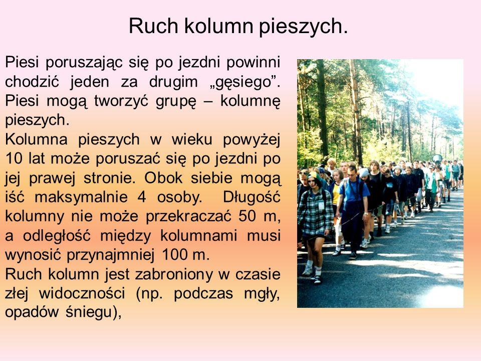 """Ruch kolumn pieszych. Piesi poruszając się po jezdni powinni chodzić jeden za drugim """"gęsiego"""". Piesi mogą tworzyć grupę – kolumnę pieszych. Kolumna p"""