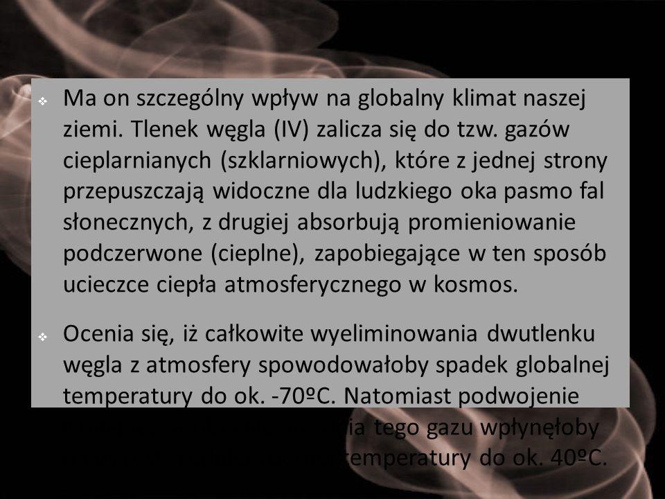  Ma on szczególny wpływ na globalny klimat naszej ziemi. Tlenek węgla (IV) zalicza się do tzw. gazów cieplarnianych (szklarniowych), które z jednej s