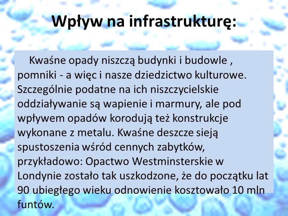 Wpływ na infrastrukturę: Kwaśne opady niszczą budynki i budowle, pomniki - a więc i nasze dziedzictwo kulturowe. Szczególnie podatne na ich niszczycie