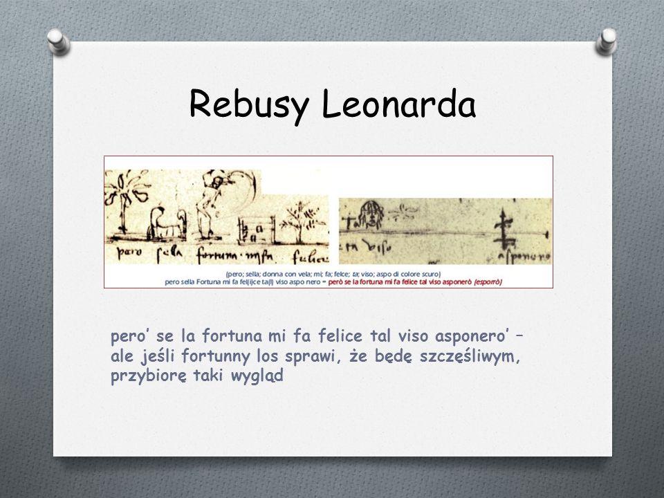 Rebusy Leonarda pero' se la fortuna mi fa felice tal viso asponero' – ale jeśli fortunny los sprawi, że będę szczęśliwym, przybiorę taki wygląd