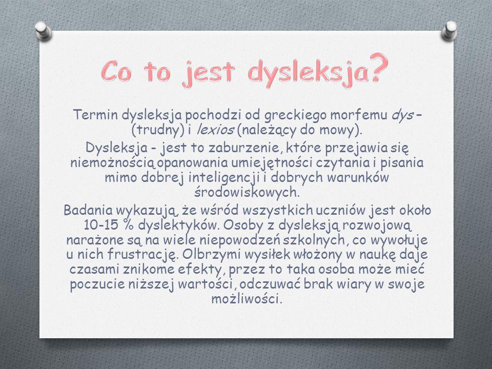 Termin dysleksja pochodzi od greckiego morfemu dys – (trudny) i lexios (należący do mowy).