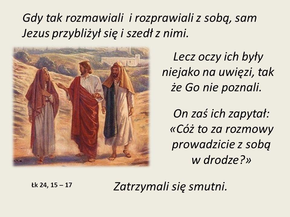Zapytał ich: «Cóż takiego?» Odpowiedzieli Mu: «To, co się stało z Jezusem Nazarejczykiem, który był prorokiem potężnym w czynie i słowie wobec Boga i całego ludu; jak arcykapłani i nasi przywódcy wydali Go na śmierć i ukrzyżowali.