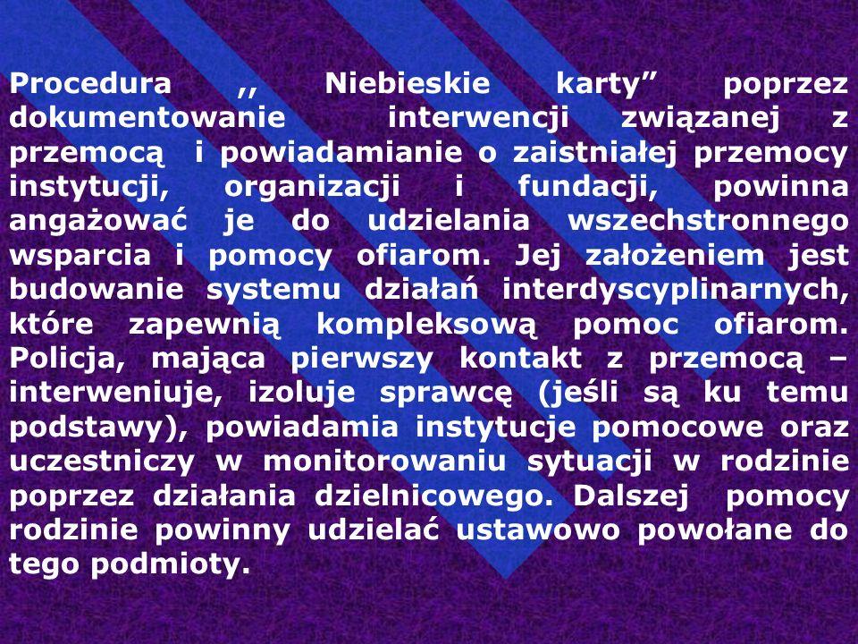 """Procedura,, Niebieskie karty"""" poprzez dokumentowanie interwencji związanej z przemocą i powiadamianie o zaistniałej przemocy instytucji, organizacji i"""