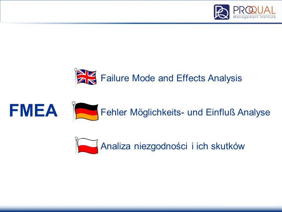 Failure Mode and Effects Analysis Fehler Möglichkeits- und Einfluß Analyse Analiza niezgodności i ich skutków FMEA