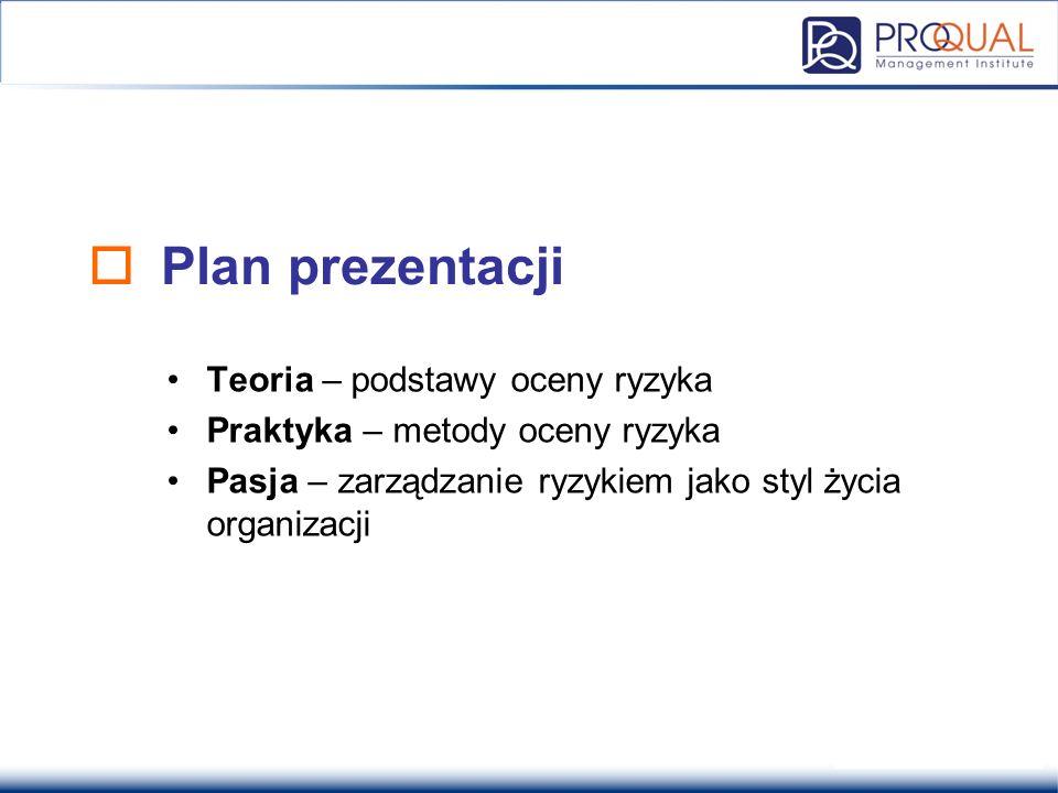  Plan prezentacji Teoria – podstawy oceny ryzyka Praktyka – metody oceny ryzyka Pasja – zarządzanie ryzykiem jako styl życia organizacji