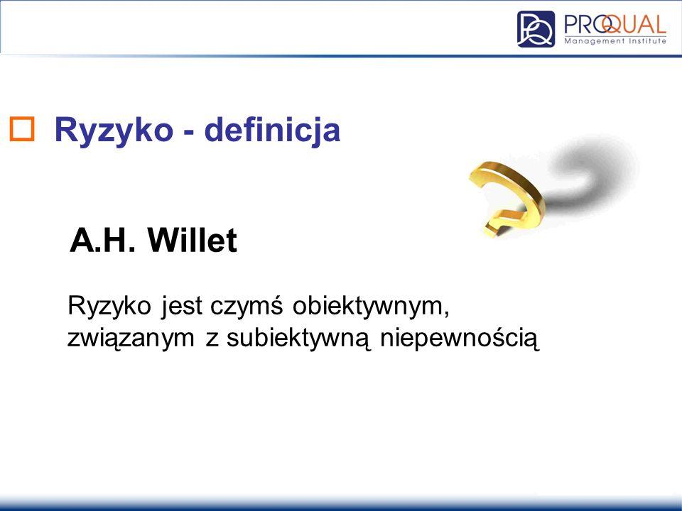  Ryzyko - definicja Ryzyko jest czymś obiektywnym, związanym z subiektywną niepewnością A.H. Willet