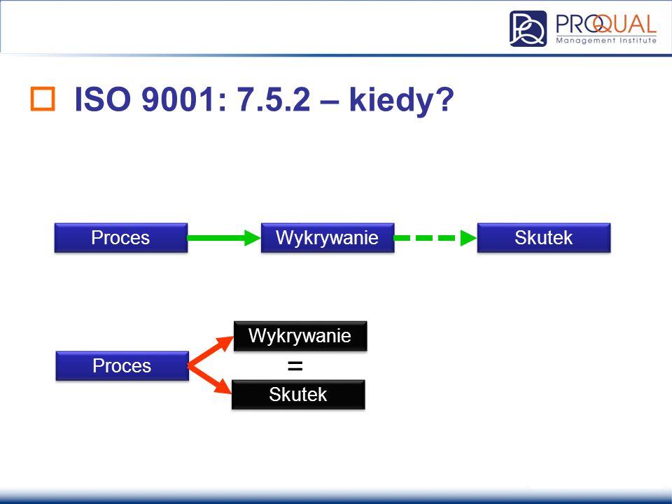  ISO 9001: 7.5.2 – kiedy? Proces Wykrywanie Skutek Proces = Wykrywanie Skutek