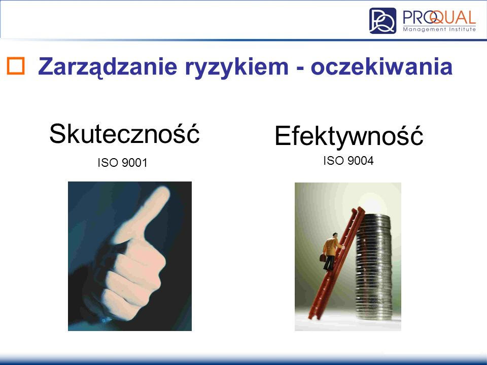  Zarządzanie ryzykiem - oczekiwania Skuteczność Efektywność ISO 9001 ISO 9004