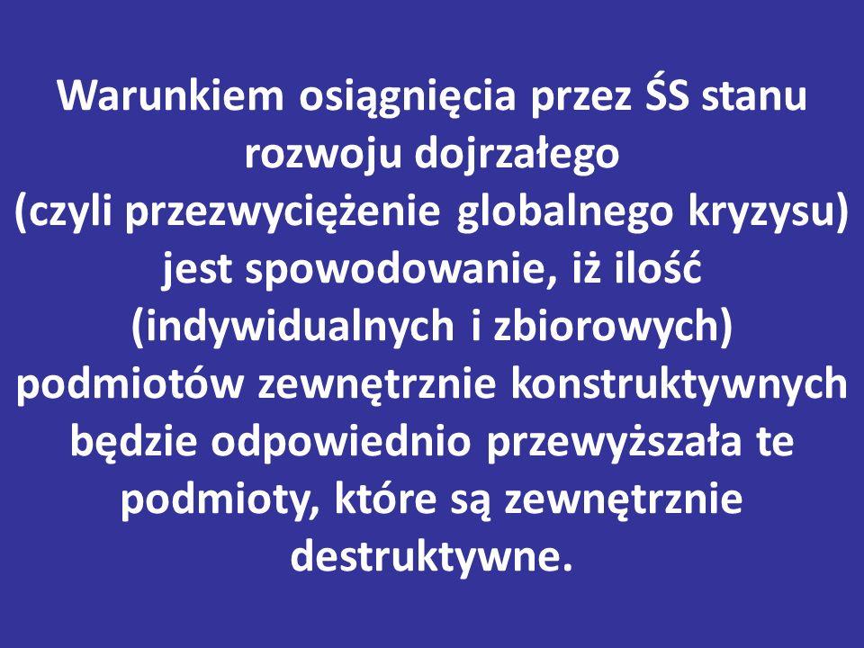 Warunkiem osiągnięcia przez ŚS stanu rozwoju dojrzałego (czyli przezwyciężenie globalnego kryzysu) jest spowodowanie, iż ilość (indywidualnych i zbiorowych) podmiotów zewnętrznie konstruktywnych będzie odpowiednio przewyższała te podmioty, które są zewnętrznie destruktywne.
