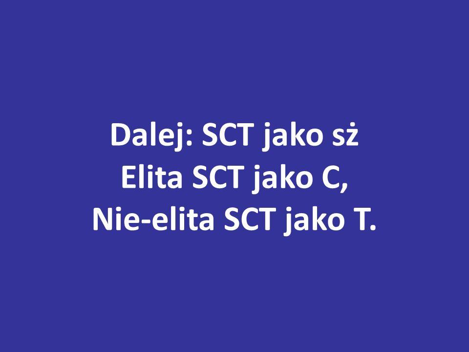 Dalej: SCT jako sż Elita SCT jako C, Nie-elita SCT jako T.