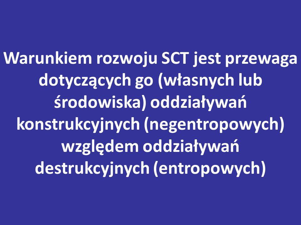 Warunkiem rozwoju SCT jest przewaga dotyczących go (własnych lub środowiska) oddziaływań konstrukcyjnych (negentropowych) względem oddziaływań destrukcyjnych (entropowych)