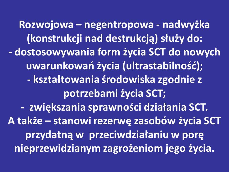 Rozwojowa – negentropowa - nadwyżka (konstrukcji nad destrukcją) służy do: - dostosowywania form życia SCT do nowych uwarunkowań życia (ultrastabilność); - kształtowania środowiska zgodnie z potrzebami życia SCT; - zwiększania sprawności działania SCT.