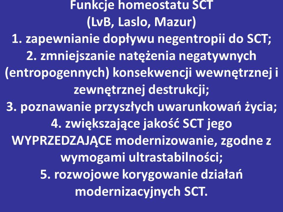Funkcje homeostatu SCT (LvB, Laslo, Mazur) 1.zapewnianie dopływu negentropii do SCT; 2.