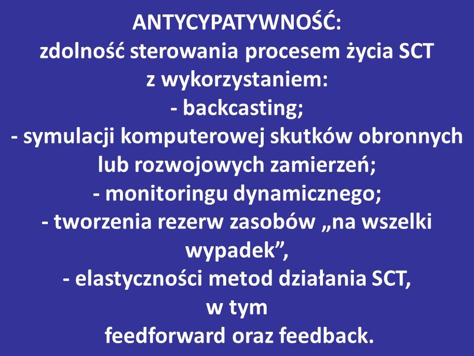 """ANTYCYPATYWNOŚĆ: zdolność sterowania procesem życia SCT z wykorzystaniem: - backcasting; - symulacji komputerowej skutków obronnych lub rozwojowych zamierzeń; - monitoringu dynamicznego; - tworzenia rezerw zasobów """"na wszelki wypadek , - elastyczności metod działania SCT, w tym feedforward oraz feedback."""