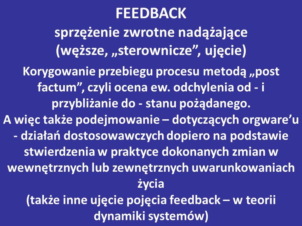 """FEEDBACK sprzężenie zwrotne nadążające (węższe, """"sterownicze , ujęcie) Korygowanie przebiegu procesu metodą """"post factum , czyli ocena ew."""