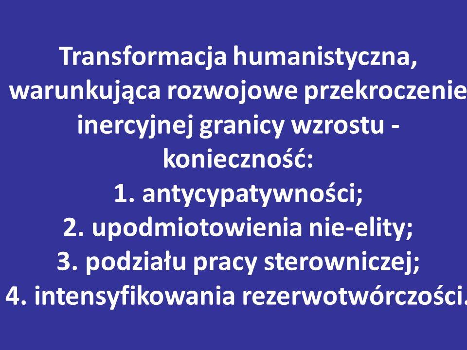 Transformacja humanistyczna, warunkująca rozwojowe przekroczenie inercyjnej granicy wzrostu - konieczność: 1.