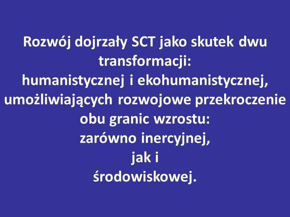 Rozwój dojrzały SCT jako skutek dwu transformacji: humanistycznej i ekohumanistycznej, umożliwiających rozwojowe przekroczenie obu granic wzrostu: zarówno inercyjnej, jak i środowiskowej.