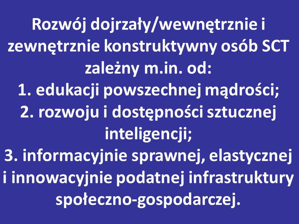 Rozwój dojrzały/wewnętrznie i zewnętrznie konstruktywny osób SCT zależny m.in.