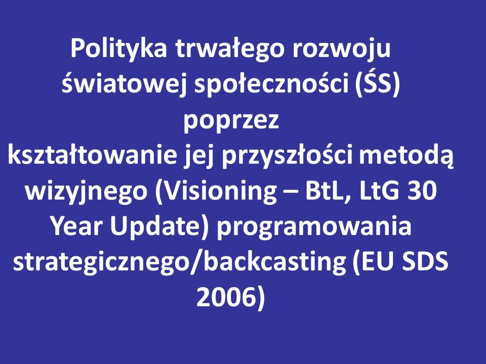 Polityka trwałego rozwoju światowej społeczności (ŚS) poprzez kształtowanie jej przyszłości metodą wizyjnego (Visioning – BtL, LtG 30 Year Update) programowania strategicznego/backcasting (EU SDS 2006)