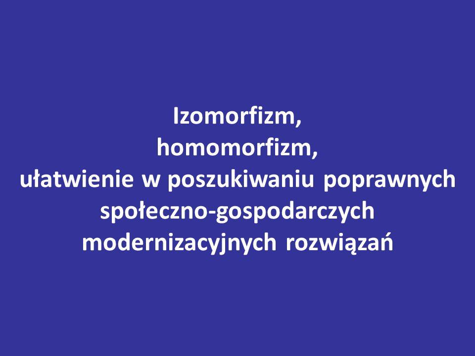 Izomorfizm, homomorfizm, ułatwienie w poszukiwaniu poprawnych społeczno-gospodarczych modernizacyjnych rozwiązań