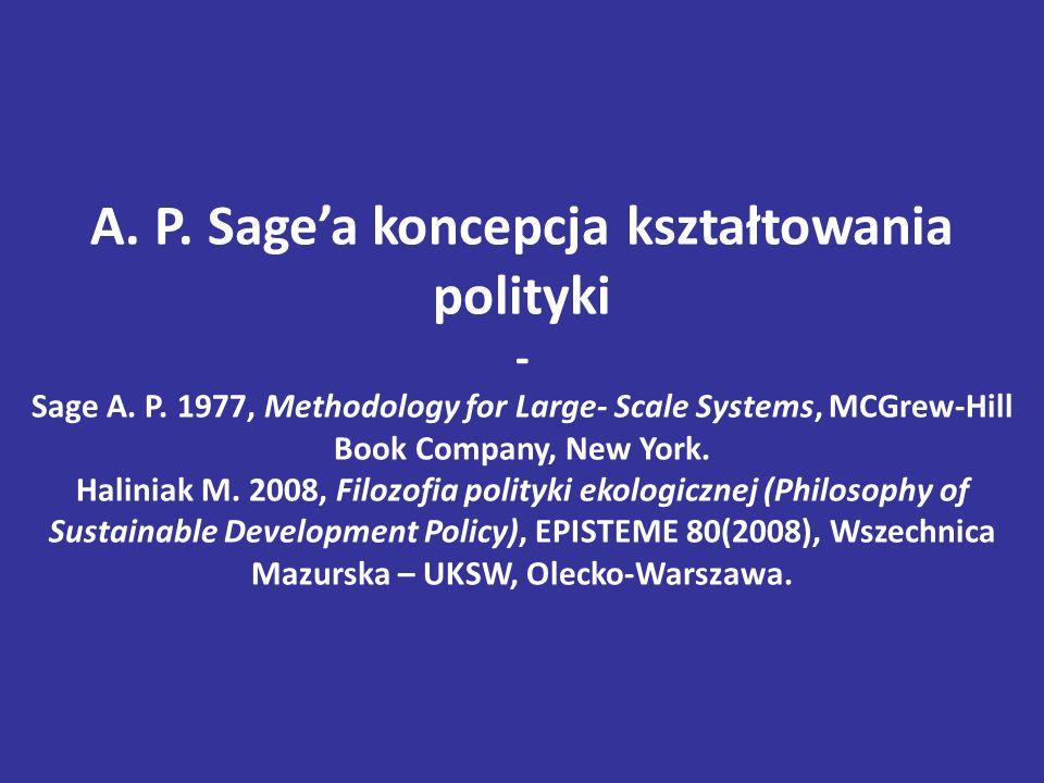 A.P. Sage'a koncepcja kształtowania polityki - Sage A.