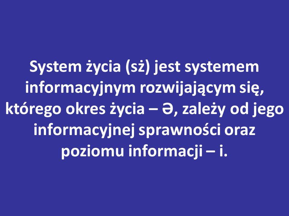 System życia (sż) jest systemem informacyjnym rozwijającym się, którego okres życia – Ə, zależy od jego informacyjnej sprawności oraz poziomu informacji – i.