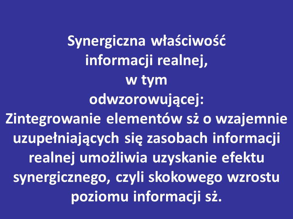 Synergiczna właściwość informacji realnej, w tym odwzorowującej: Zintegrowanie elementów sż o wzajemnie uzupełniających się zasobach informacji realnej umożliwia uzyskanie efektu synergicznego, czyli skokowego wzrostu poziomu informacji sż.