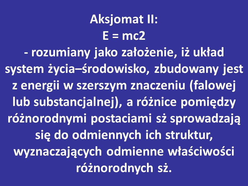 Aksjomat II: E = mc2 - rozumiany jako założenie, iż układ system życia–środowisko, zbudowany jest z energii w szerszym znaczeniu (falowej lub substancjalnej), a różnice pomiędzy różnorodnymi postaciami sż sprowadzają się do odmiennych ich struktur, wyznaczających odmienne właściwości różnorodnych sż.