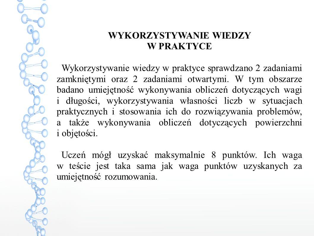 WYKORZYSTYWANIE WIEDZY W PRAKTYCE Wykorzystywanie wiedzy w praktyce sprawdzano 2 zadaniami zamkniętymi oraz 2 zadaniami otwartymi.