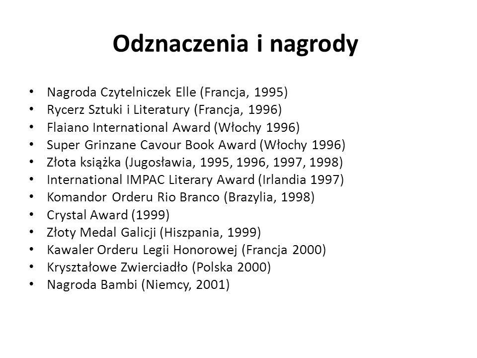 Odznaczenia i nagrody Nagroda Czytelniczek Elle (Francja, 1995) Rycerz Sztuki i Literatury (Francja, 1996) Flaiano International Award (Włochy 1996) S
