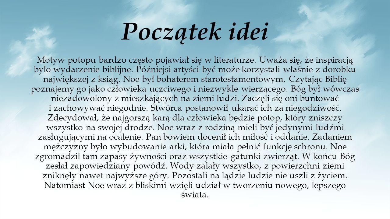 """Dzieła literackie bazujące na potopie 1.Stanisław Wyspiański """"Wesele Rozświetlony dom, w którym odbywa się wesele przypomina Racheli arkę Noego."""