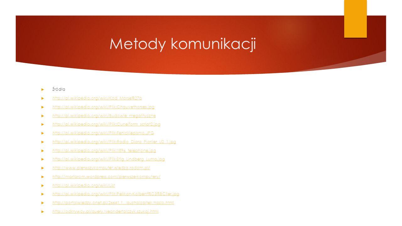 Metody komunikacji  Źródła  http://pl.wikipedia.org/wiki/Kod_Morse%27a http://pl.wikipedia.org/wiki/Kod_Morse%27a  http://pl.wikipedia.org/wiki/Pli