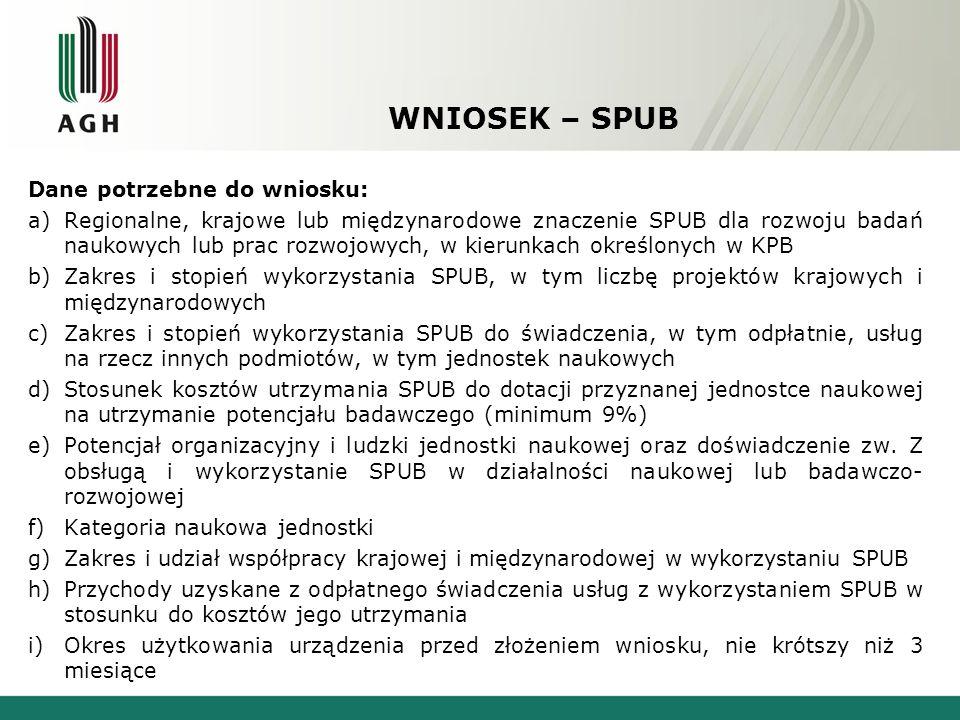 WNIOSEK – SPUB Dane potrzebne do wniosku: a)Regionalne, krajowe lub międzynarodowe znaczenie SPUB dla rozwoju badań naukowych lub prac rozwojowych, w