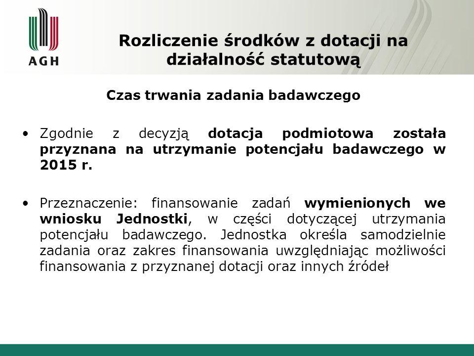 Rozliczenie środków z dotacji na działalność statutową Czas trwania zadania badawczego Zgodnie z decyzją dotacja podmiotowa została przyznana na utrzymanie potencjału badawczego w 2015 r.