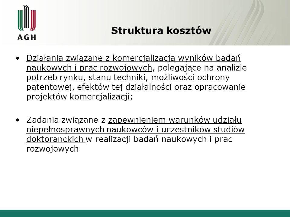 Struktura kosztów Działania związane z komercjalizacją wyników badań naukowych i prac rozwojowych, polegające na analizie potrzeb rynku, stanu technik