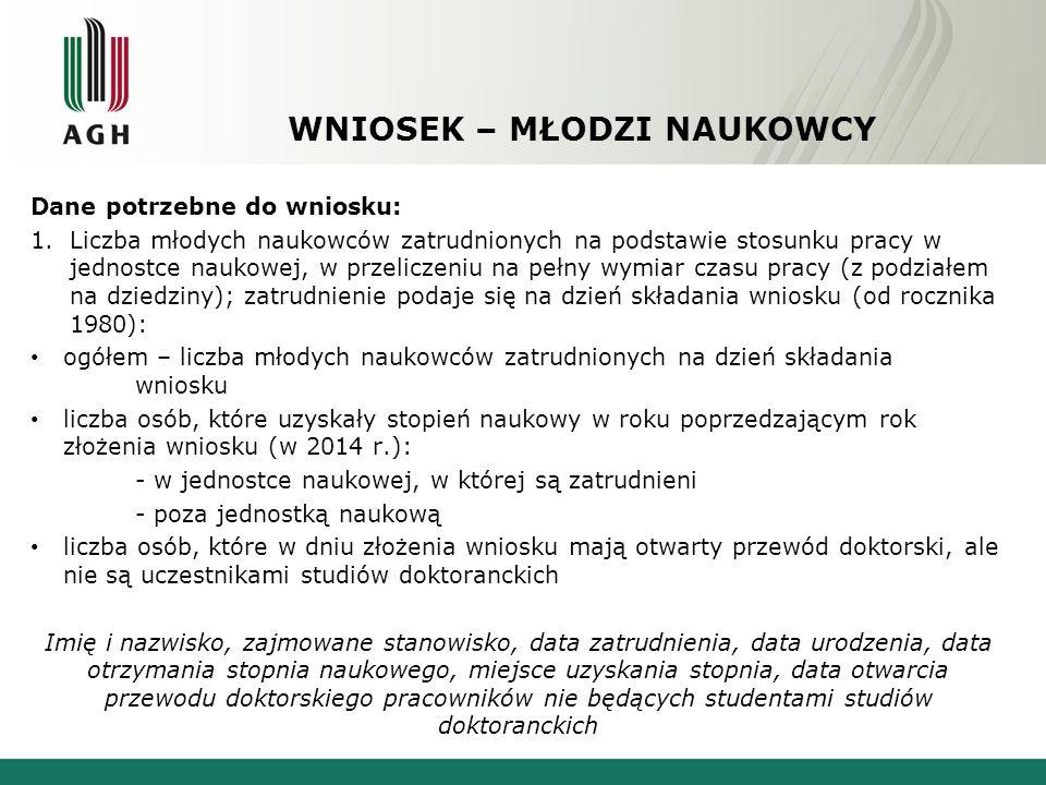 WNIOSEK – MŁODZI NAUKOWCY Dane potrzebne do wniosku: 1.Liczba młodych naukowców zatrudnionych na podstawie stosunku pracy w jednostce naukowej, w prze