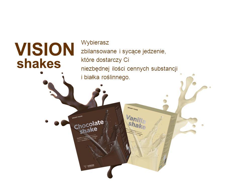 VISION shakes Wybierasz zbilansowane i sycące jedzenie, które dostarczy Ci niezbędnej ilości cennych substancji i białka roślinnego.