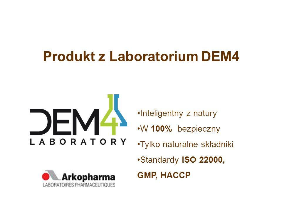 Produkt z Laboratorium DEM4 Inteligentny z natury W 100% bezpieczny Tylko naturalne składniki Standardy ISO 22000, GMP, HACCP