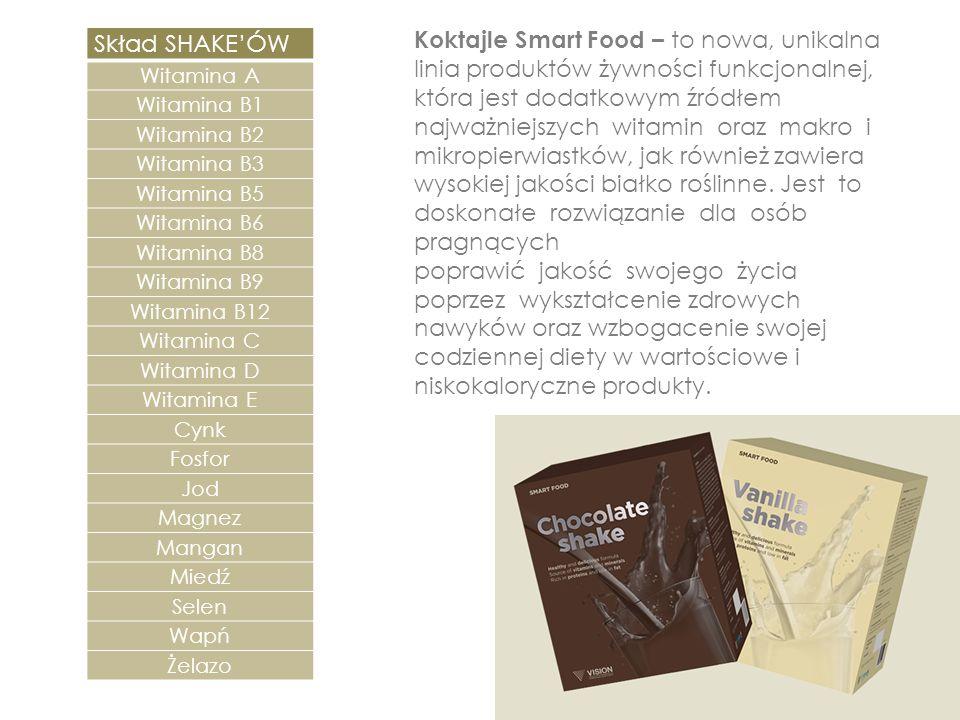 Koktajle Smart Food – to nowa, unikalna linia produktów żywności funkcjonalnej, która jest dodatkowym źródłem najważniejszych witamin oraz makro i mik