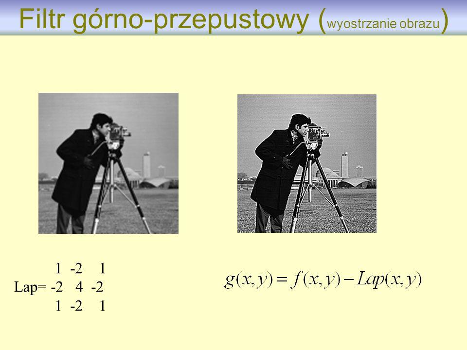 1 -2 1 -2 4 -2 1 -2 1 Lap= Filtr górno-przepustowy ( wyostrzanie obrazu )
